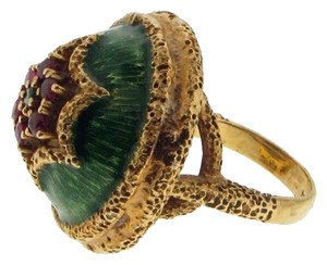 Cocktail ring - 18k yellow gold ruby, emerald and enamel domed ring - stunning