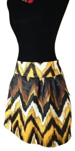 Worthington A-line Zig Zag Striped Skirt Yellow, Brown, Black