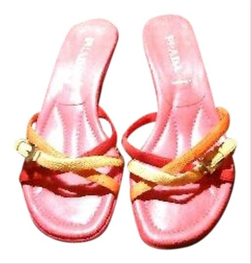 Preload https://item2.tradesy.com/images/prada-multi-color-pink-leather-orange-red-and-yellow-buckle-slides-kitten-sandals-size-us-7-narrow-a-5416621-0-0.jpg?width=440&height=440