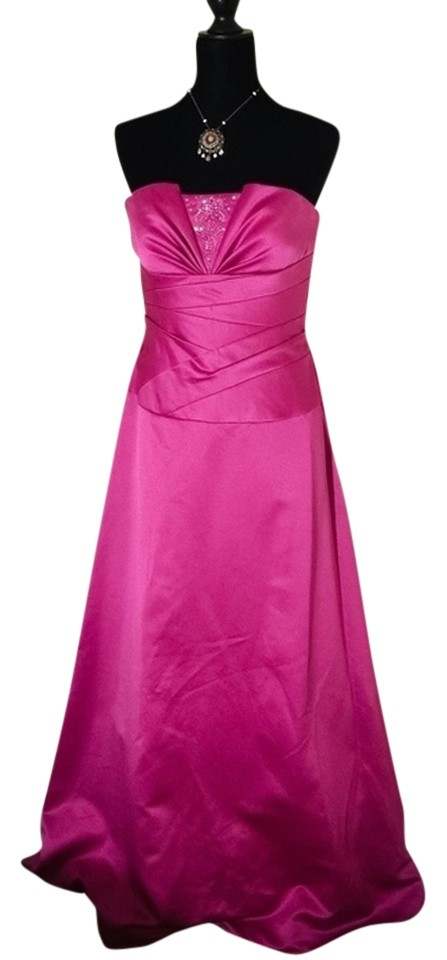 David\'s Bridal Pink Wedding Prom Homecoming Evening Gown Beaded ...