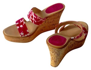 Escada Cork Canvas Sandals Leather Es Pink Wedges
