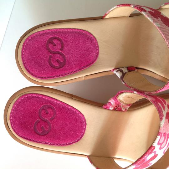 Escada Cork Canvas Sandals Slides Leather Es Pink Wedges