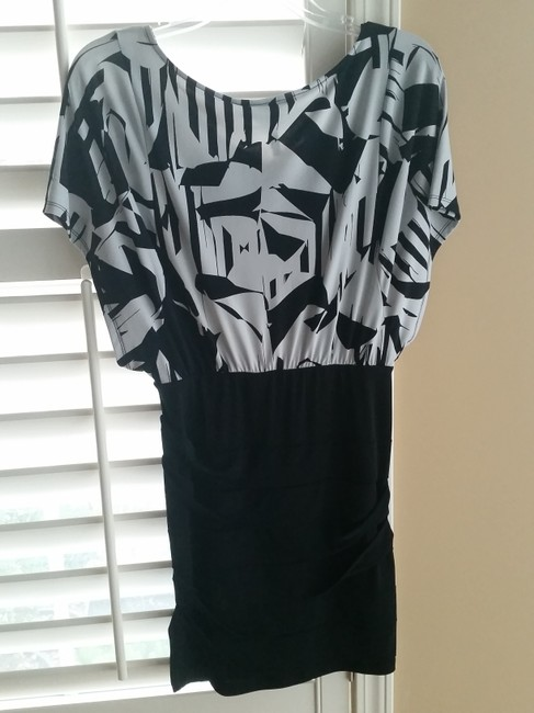 BCBGeneration Bcbg Black Black White Mini Office Party Floral Print Tropical Print Offwhite Party Work Casual Dress