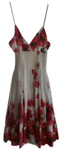 Estam short dress White & Red Sundress Poppies Floral Flower Spaghetti Strap Cotton Cotton on Tradesy