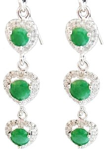 Natural Emeralds in a Valentine Heart Designed 925 Sterling Silver Dangle Earrings