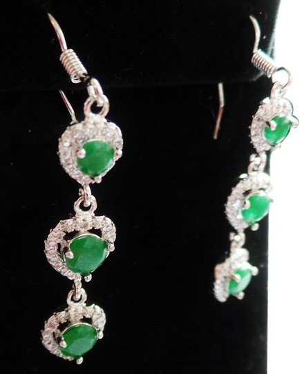 Other Natural Emeralds in a Valentine Heart Designed 925 Sterling Silver Dangle Earrings