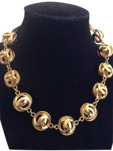 Chanel RARE VINTAGE CHANEL GOLD PLATED CC BUBBLE CHOKER NECKLACE