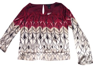 White House | Black Market Top Burgundy, black