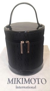 Mikimoto Pearls Travel Cosmetic Leather Tote in Black
