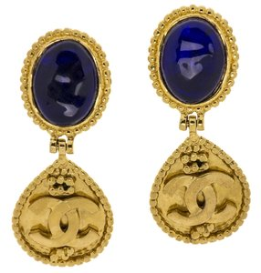 Chanel Chanel Blue Rhinestone Dangle CC Earrings