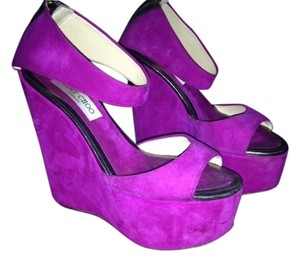 Jimmy Choo Suede Metallic purple Wedges