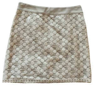 Kensie Lace Tan Beige Cream Boho Classy Zipper Skirt Off-white