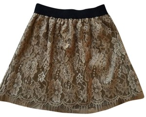 Ultra Pink Dressy Career Lace Elastic Black Cocktail Skirt Brown