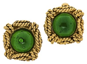 Chanel Chanel Vintage Square Green Gripoix Earrings