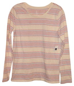 Gap Crewneck Striped Comfortable 100% Cotton Casual T Shirt Pink stripe