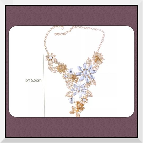 Other Brand New Gold Tone & Clear Crystal Statement Necklace/Choker/Bib