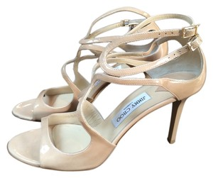 Jimmy Choo Patent Leather Nude Sandals