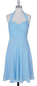 Blue Chiffon Halter Sweetheart Pleated Waist Modest Dress Size 14 (L)