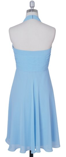 Blue Chiffon Halter Sweetheart Pleated Waist Modest Bridesmaid/Mob Dress Size 14 (L)