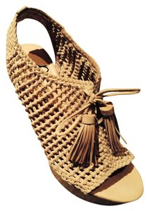 Pencey Woven Leather Tassel Accents Slingback Open Toe Laces Up Wooden Heel Neutral Color Blush Sandals