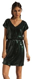 Trina Turk Sequin Nye Sparkle V-neck Dress