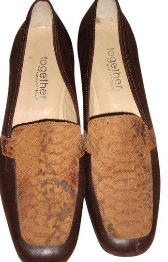 Together BROWN WITH SNAKE-SKIN FRONT Flats