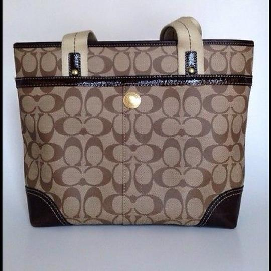 Coach Heritage Hand Stripe Tote in brown