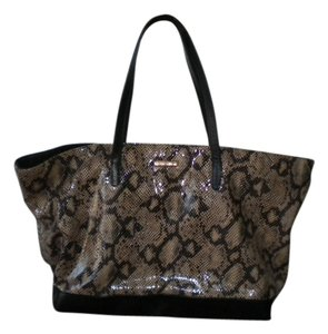 Rebecca Minkoff Tote in Black/Taupe faux Snakeskin