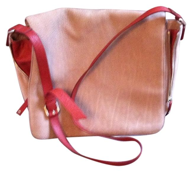 Item - Maria Sharpova Beige W/Deep Orange Leather Gussets and Strap Suede Cross Body Bag