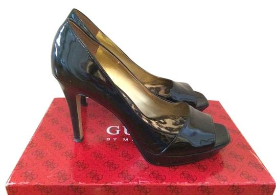 Guess By Marciano Patent Leather Peep Toe Black Pumps