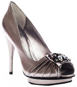 BCBGeneration Peep Toe Platform Embellished Silver Pumps