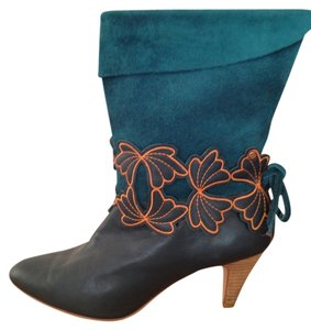 Ted Baker Leather Suede Deco Unique Flowers Dark Teal with orange accents Boots