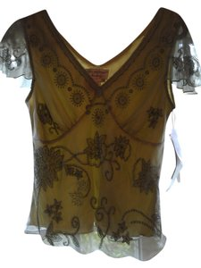 Adrianna Papell Embroidery Silk Top Green