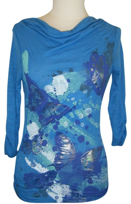 Style & Co Top BLUE W FOIL EMBELLISHMENT