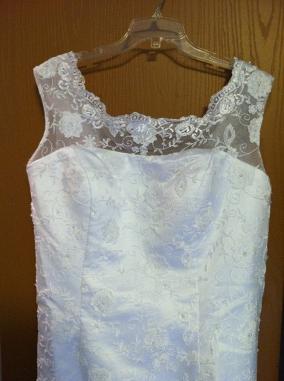 White Lace Custom Made Vintage Wedding Dress Size 14 (L)