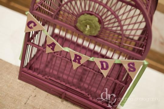 Purple Birdcage Card Box Reception Decoration