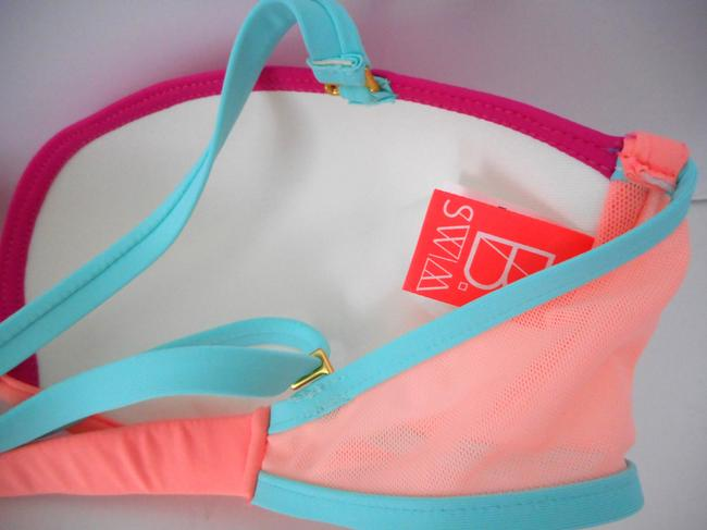 B. Swim U66 Pink Colorblock Punchy Unicorn Uniwire D-CUP Bikini Top