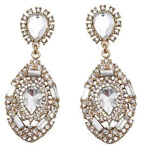 Brand New Gold & Clear Crystal Statement Earrings