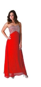 Red Crystal Beads Bodice & Open Back Long Dress