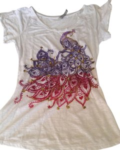 Charlotte Russe Peacock Embellished Design Sequins Dip Dye Royal Sheer Burnout Beach Summer Sexy Vintage Boho Unique Xs Xsmall Small T Shirt White, Pink, Purple