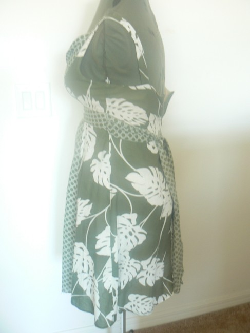 Mystic short dress Green & White Umpire Tie Back And Leaves Circles on Tradesy