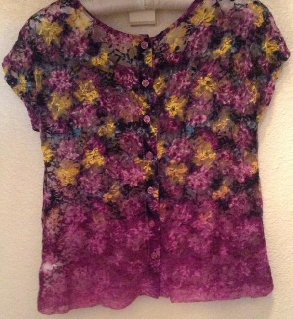 Mossimo Supply Co. Xhilaration Target Vintage Hippie Boho Lace Button Button Back Fade Dip Dye Xs Tee Sheer Summer Small 0 2 Crop Fp Free Top Purple, multi