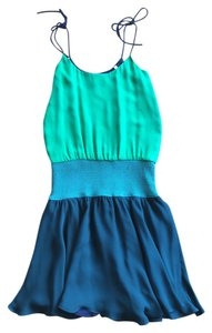 Halston short dress Blue and Green on Tradesy