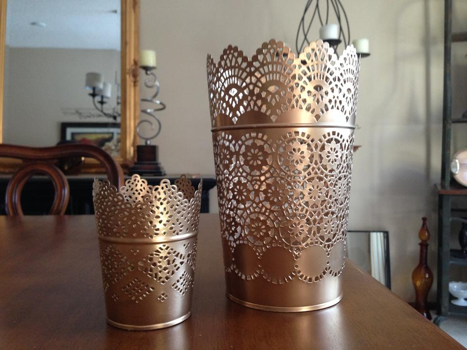 f4056f25c9f Gold Ikea Skurar Lace Candle Holders Painted Reception Decoration ...