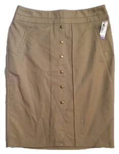 Worthington Straight Front Button Pleat Skirt Beige