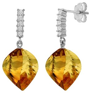 Other 23.65 Ct 14k White Gold Diamond and Natural Citrine Earrings