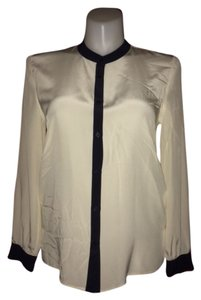 Talbots All Silk Button Front Top Ivory
