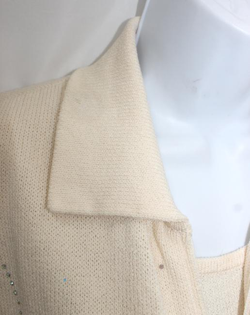 St. John ST. JOHN COLLECTION EMBELLISHED BEIGE 3-PC. KNIT SKIRT SUIT 8 M