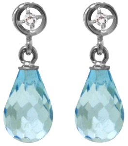 2.73 CTW 14k White Gold Diamond and Blue Topaz Earrings
