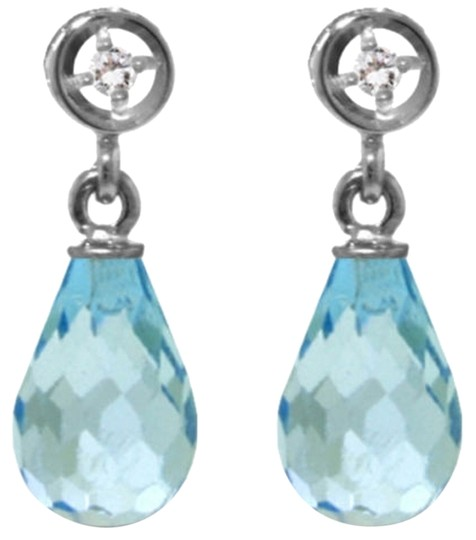 Other 2.73 CTW 14k White Gold Diamond and Blue Topaz Earrings